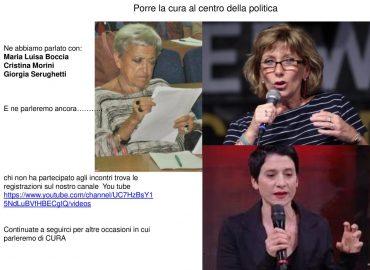 LA CURA AL CENTRO DELLA POLITICA